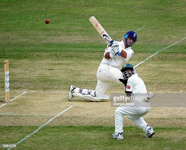 Graham Thorpe of England sweeps through the onside during the 2nd Test Match between Bangladesh and England at the Chittagong Stadium on October 31...