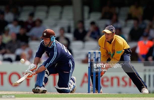 Graham Thorpe of Surrey hits out during the Cheltenham and Gloucester Quarter Final match between Surrey and Hampshire at the Oval on July 15 2005 in...