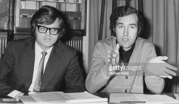 Graham Tope the new Liberal MP for Sutton and Cheam and chairman of the Young Liberals Peter Hain during a press conference to launch their Christmas...