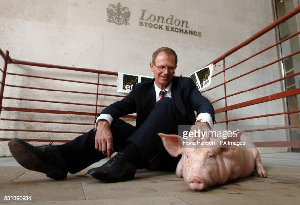 Graham Tuckwell Chairman of ETF Securities with Cilla the pig at the London's Stock Exchange to mark the announcement of the listing of there...