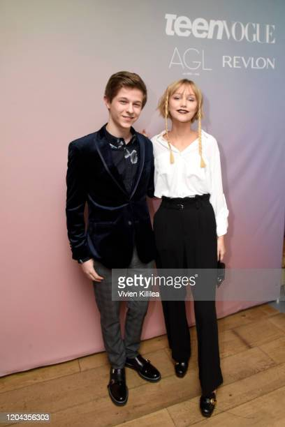 Graham Verchere and Grace VanderWaal attend Teen Vogue Celebrates Young Hollywood 2020 at San Vicente Bungalows on February 05, 2020 in West...