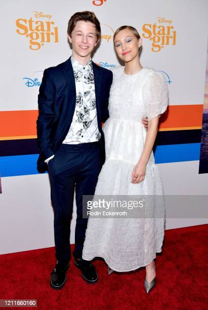 """Graham Verchere and Grace VanderWaal attend the premiere of Disney+'s """"Stargirl"""" at the El Capitan Theatre on March 10, 2020 in Hollywood, California."""