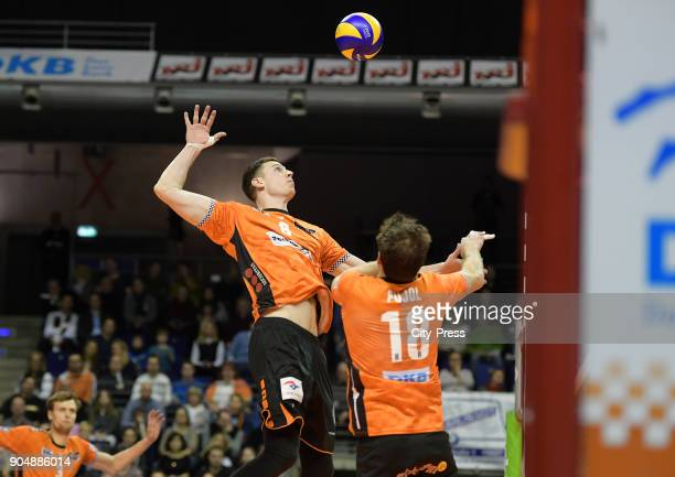 Graham Vigrass and Pierre Pujol of the Berlin Recycling Volleys during the game between the Berlin Recycling Volleys and the SWD powervolleys Dueren...