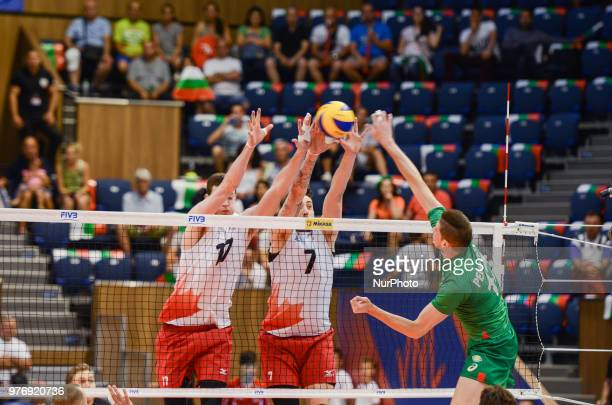 Graham Vigrass L and Stephen Timothy Maar from Canada against Nikolay Penchev R Bulgaria during Mens Volleyball Nations League VNL match between...