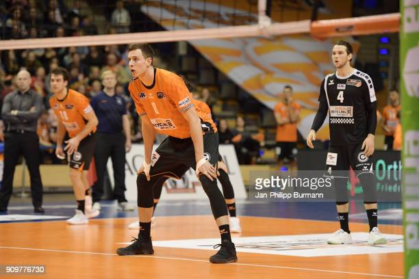 Graham Vigrass of the Berlin Recycling Volleys during the game between the Berlin Recycling Volleys and the VfB Friedrichshafen on january 24 2018 in...