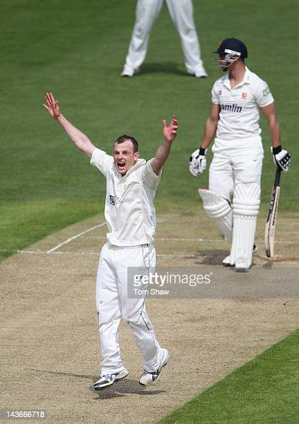 Graham Wagg of Glamorgan appeals unsuccessfully during day one of the LV County Championship division one match between Glamorgan and Essex at SWALEC...