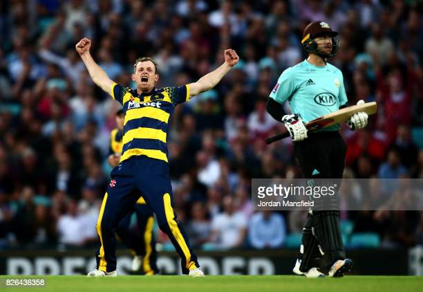 Graham Wagg of Glamorgan celebrates dismissing Mark Stoneman of Surrey during the NatWest T20 Blast match between Surrey and Glamorgan at The Kia...