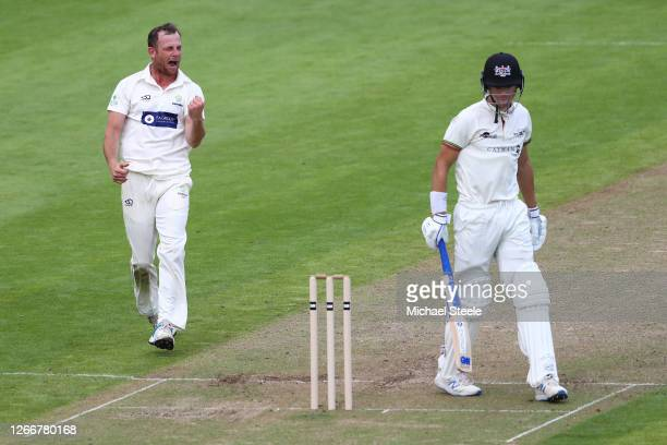 Graham Wagg of Glamorgan celebrates taking the wicket of Ben Charlesworth of Gloucestershire during day three of the Bob Willis Trophy Central group...