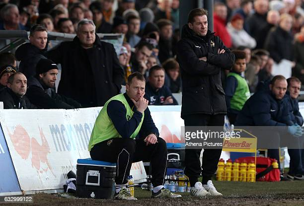 Graham Westley of Newport County AFC and Mike Flynn of Newport County during the Sky Bet League Two match between Newport County and Hartlepool...