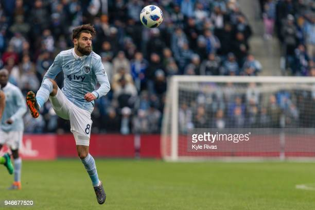 Graham Zusi of Sporting Kansas City attempts to bring down a pass against the Seattle Sounders during the second half on April 15 2018 at Children's...