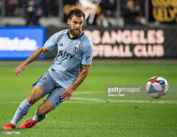 Graham Zusi of Sporting Kansas City during Los Angeles FC's MLS match against Sporting Kansas City at the Banc of California Stadium on March 3 2019...