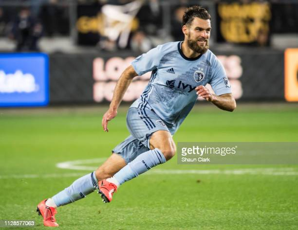 Graham Zusi of Sporting Kansas City during Los Angeles FC's MLS match against Sporting Kansas City at the Banc of California Stadium on March 3, 2019...