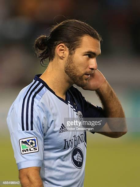 Graham Zusi of Sporting Kansas City looks on prior to the MLS match against Chivas USA at StubHub Center on September 12 2014 in Los Angeles...