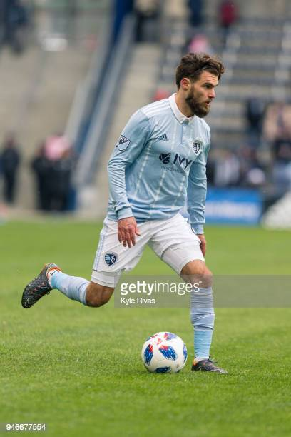 Graham Zusi of Sporting Kansas City pushes the ball up the field against the Seattle Sounders during the second half on April 15 2018 at Children's...