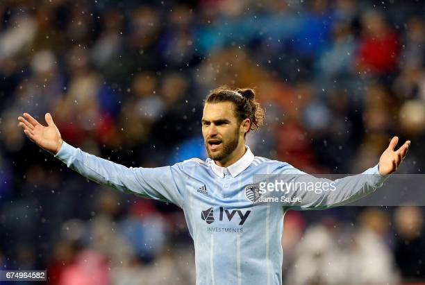Graham Zusi of Sporting Kansas City questins a call by the referee during the game against Real Salt Lake at Children's Mercy Park on April 29 2017...