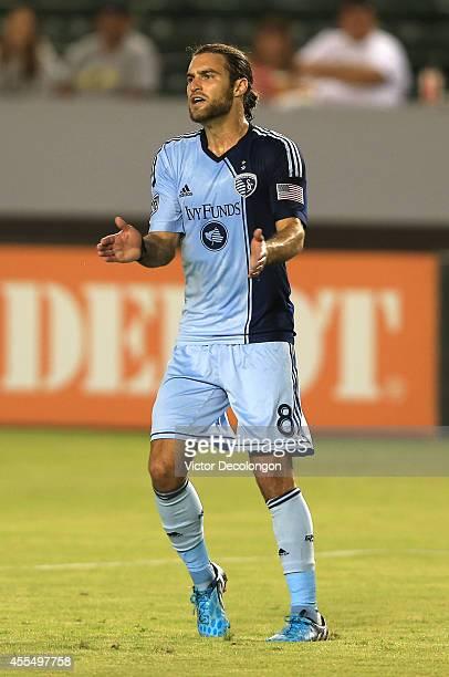 Graham Zusi of Sporting Kansas City reacts during the MLS match against Chivas USA at StubHub Center on September 12 2014 in Los Angeles California