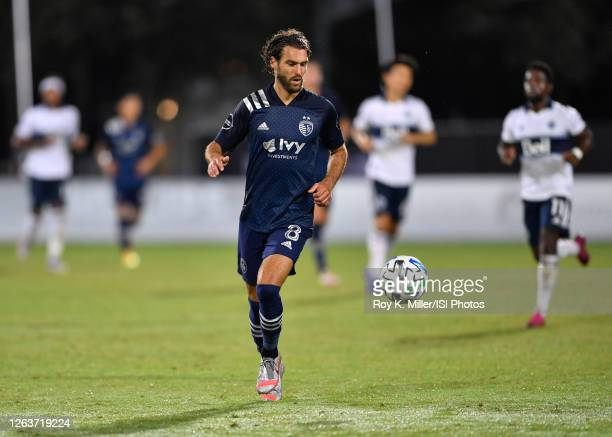 Graham Zusi of Sporting KC runs down a ball during a game between Vancouver Whitecaps and Sporting Kansas City at ESPN Wide World of Sports on July...