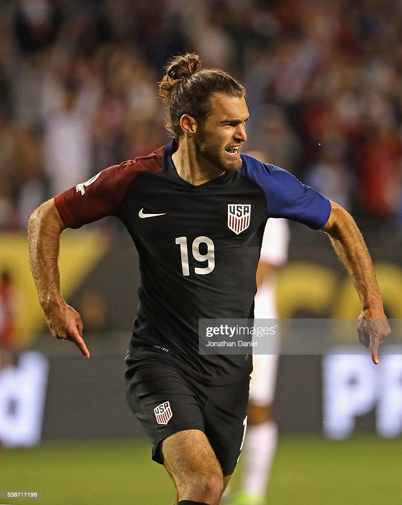 Graham Zusi #19 of the United States celebrates scoring a goal against Costa Rica during a match in the 2016 Copa America Centenario at Soldier Field on June 7, 2016 in Chicago, Illinois. The United States defeated Costa Rica 4-0.
