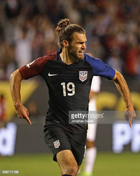 Graham Zusi of the United States celebrates scoring a goal against Costa Rica during a match in the 2016 Copa America Centenario at Soldier Field on...