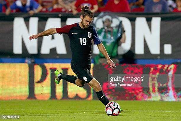 Graham Zusi of the United States controls the ball against Ecuador during an International Friendly match at Toyota Stadium on May 25, 2016 in...