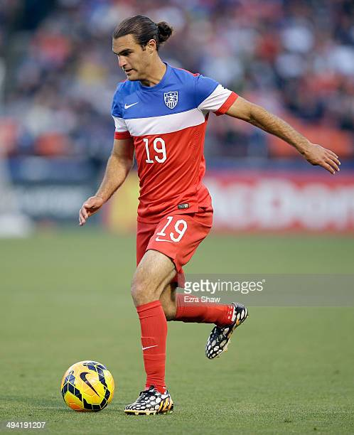 Graham Zusi of the United States in action against Azerbaijan during their match at Candlestick Park on May 27 2014 in San Francisco California