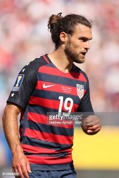 Graham Zusi of the United States looks on during the 2017 CONCACAF Gold Cup Group B match between the United States and Panama at Nissan Stadium on...