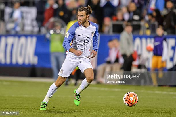 Graham Zusi of the United States Men's National Team controls the ball against Guatemala during the FIFA 2018 World Cup qualifier on March 29, 2016...