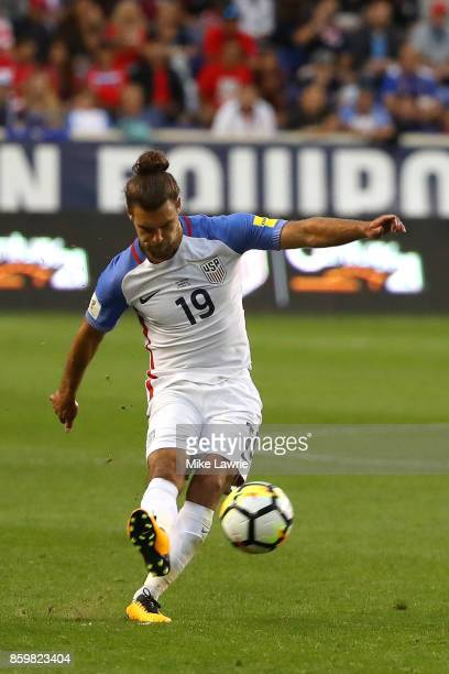 Graham Zusi of the United States takes a free kick against Costa Rica during the FIFA 2018 World Cup Qualifier at Red Bull Arena on September 1, 2017...