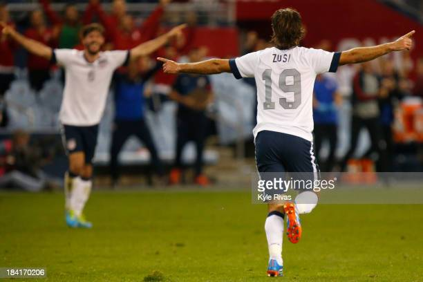 Graham Zusi of the US Men's National Soccer Team celebrates after scoring the first goal of the game against Jamaica midway in the second half at...