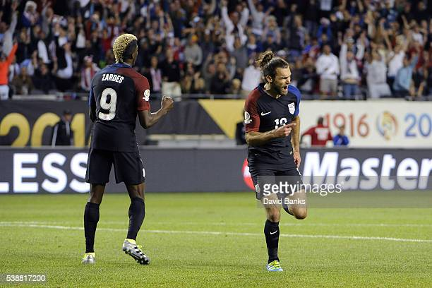 Graham Zusi of United States celebrates his goal against the Costa Rica in the second half during a group A match between United States and Costa...