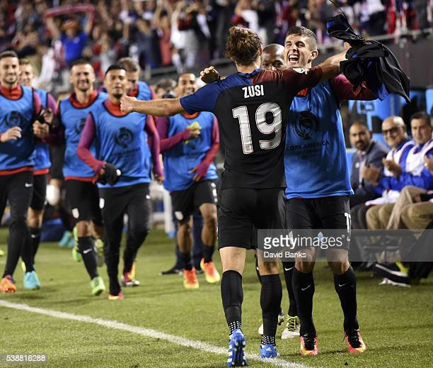 Graham Zusi of United States celebrates his goal with Christian Pulisic of United States in the second half during a group A match between United...