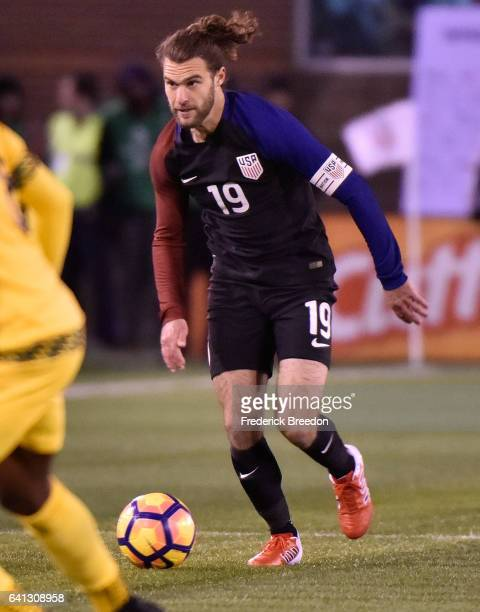 Graham Zusi of USA plays against of Jamaica during a friendly international match at Finley Stadium on February 3 2017 in Chattanooga Tennessee
