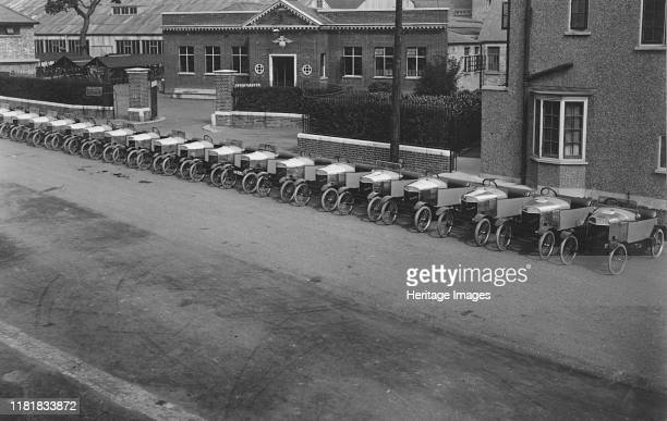 Grahame - White cyclecars outside factory in Hendon. Creator: Unknown.