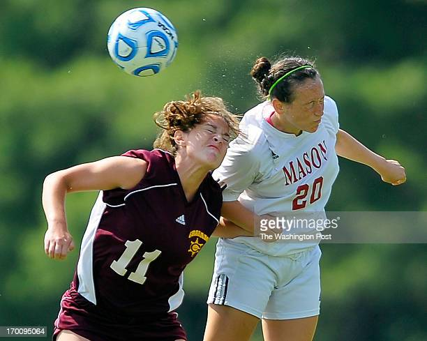 Graham's Jessica Woodie left and George Mason's Leah Roth right vie for a header as George Mason defeats Graham 4 0 to win the Virginia State single...