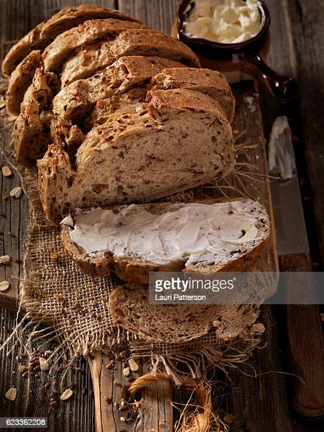 9 Grain Artisan Bread Loaf with Butter