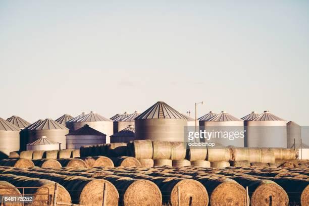 Grain Bins And Hay Stacks