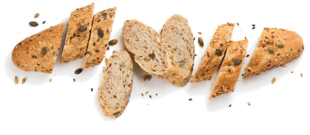 Grain bread with seeds.Above view. 901160458