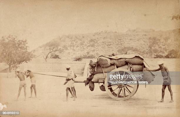 Grain cart drawn by coolies Madras Tamil Nadu India 1876 Madras Famine 18761878