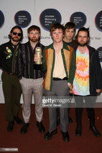 Grain Chatten, Carlos O'Connell, Conor Curley, Tom Coll, Conor Deegan of Fontaines D.C attend The 2019 Hyundai Mercury Prize: Albums of the Year at...
