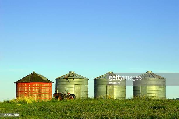 Grain Silos and a tractor