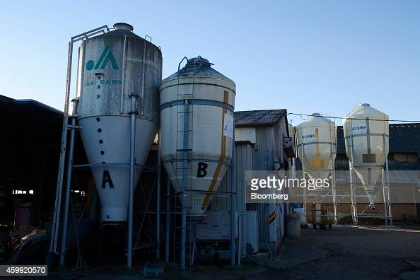 Grain silos of cattle feed stand at a Kawashima Dairy Farm