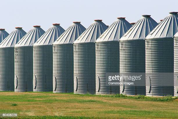 Grain Storage Bins Stock Photo - Getty Images