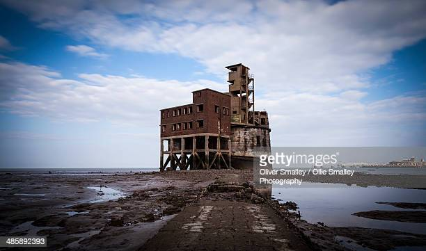 grain tower battery, isle of grain. - river medway stock photos and pictures