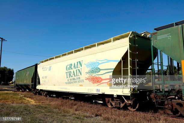 Grain Train rail car for transporting harvested grain to coastal ports for export from eastern Washington wheat farms.