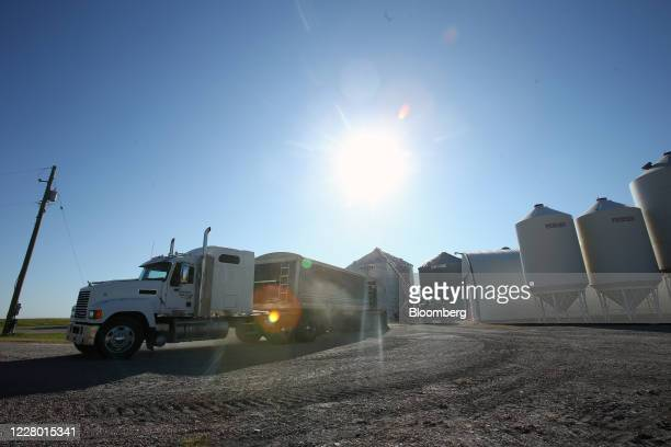 A grain truck filled with winter wheat prepares to be unloaded into grain bins at Boekhorst Grain near Brunkild Manitoba Canada on Tuesday Aug 11...