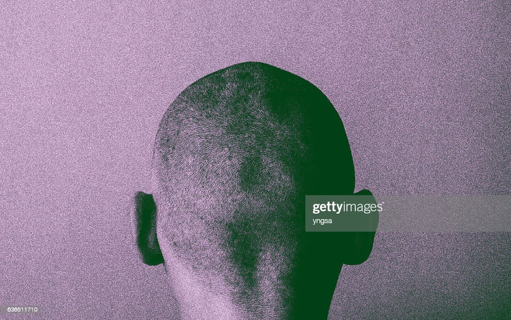 Grained skinhead angry man : Stock Photo