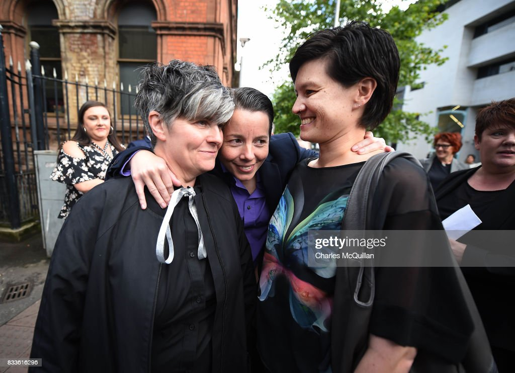 Grainne Close (L) and Shannon Sickles (R) are consoled by a well wisher after losing their case for recognition of same-sex marriage in Northern Ireland on August 17, 2017 in Belfast, Northern Ireland. The judge dismissed both cases before the court. Same-sex marriage is recognised in the rest of the United Kingdom but not in Northern Ireland were the largest political party, the DUP has blocked proposed legislation. Shannon Sickles and Grainne Close, the first women to have a civil partnership in the UK and Henry Edmond Kane and Christopher Patrick Flanagan were challenging the NI Assembly's repeated refusal to legislate for same sex marriage.