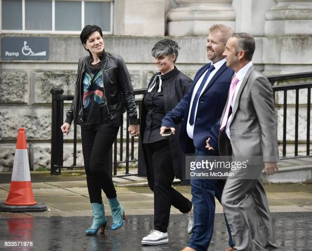Grainne Close and Shannon Sickles arrive with another civil partnership couple at Belfast High Court to hear the ruling on whether to allow samesex...