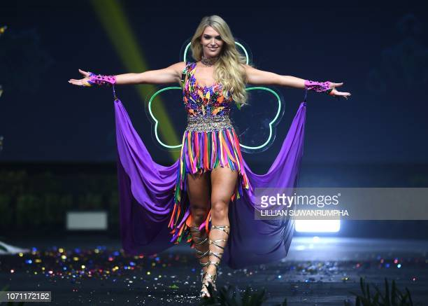 Grainne Gallanagh Miss Ireland 2018 walks on stage during the 2018 Miss Universe national costume presentation in Chonburi province on December 10...
