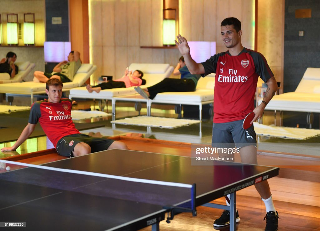 Grait Xhaka of Arsenal plays table tennis in the team hotel on July 21, 2017 in Beijing, China.